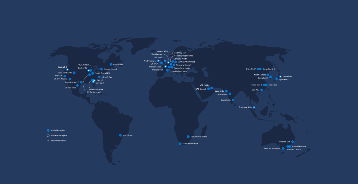 Map of the Microsoft Azure Global Regions