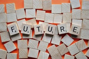 tiles spelling the word future
